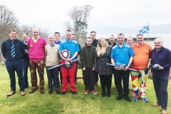 Megan Taylor and Dwayne Reid of Sponsors, Rothesay Motor Services, with Winter League Champions Liam Shanks and David Greer and other prizewinners