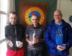 Winner Robert MacArthur,with Liam Shanks and Iain Middleton