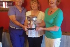 Bute match secretary Ellen Eccles, winner Port Bannatyne's Elaine Thom and Bute Ladies' Captain Margaret Rooney